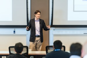Dorie Clark speaks to executive MBA students at the Wharton School SF campus. Photo by Rai Poquiz.