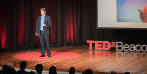 Speaking at TEDxBeaconStreet. Photo by John Werner.
